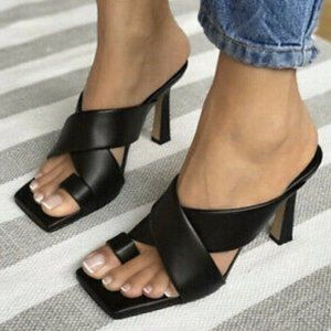 ZARA 100% Leather Padded Leather High Heel Sandals